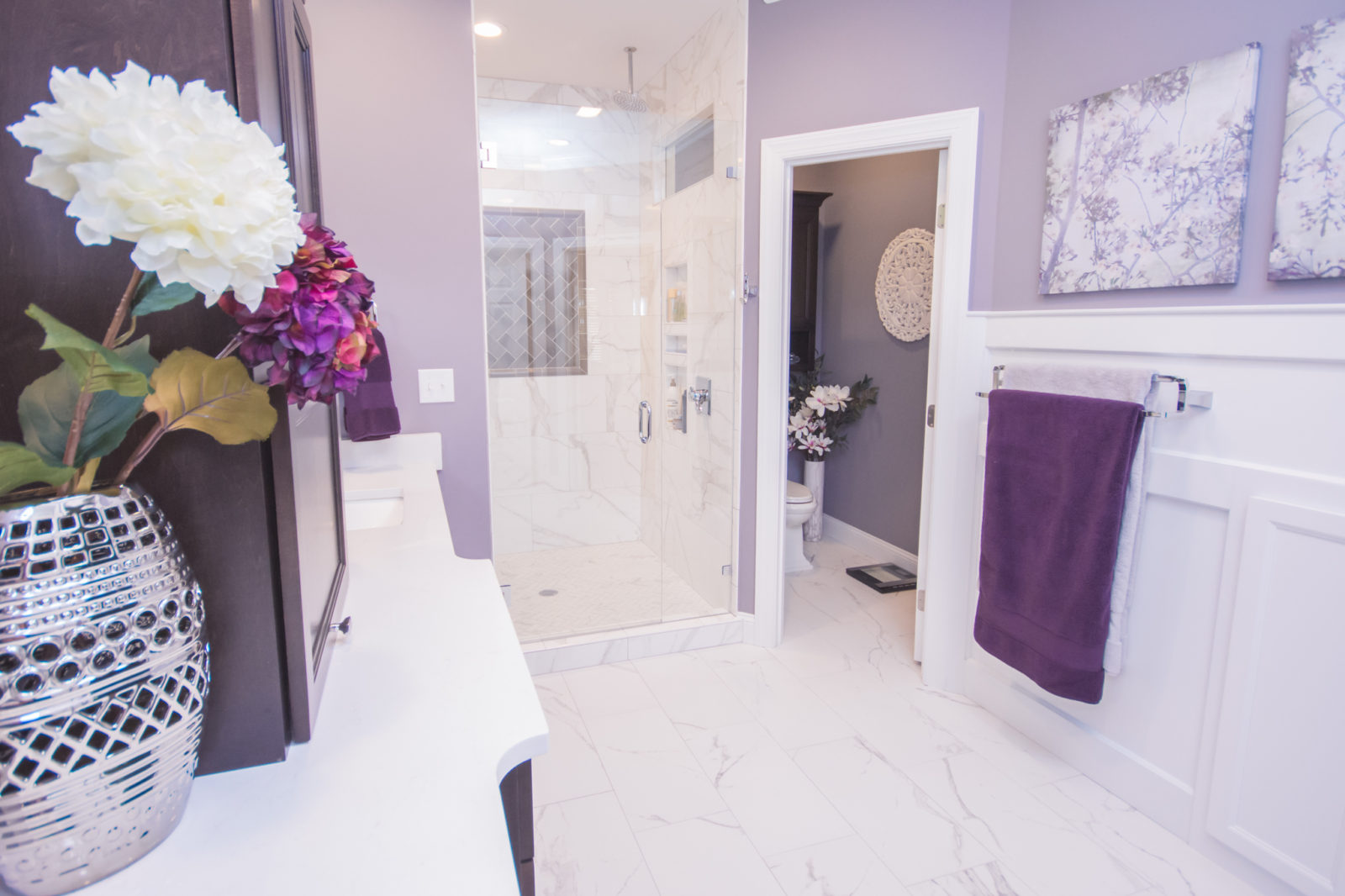 Waxhaw, NC home, bathroom with flowers and towels