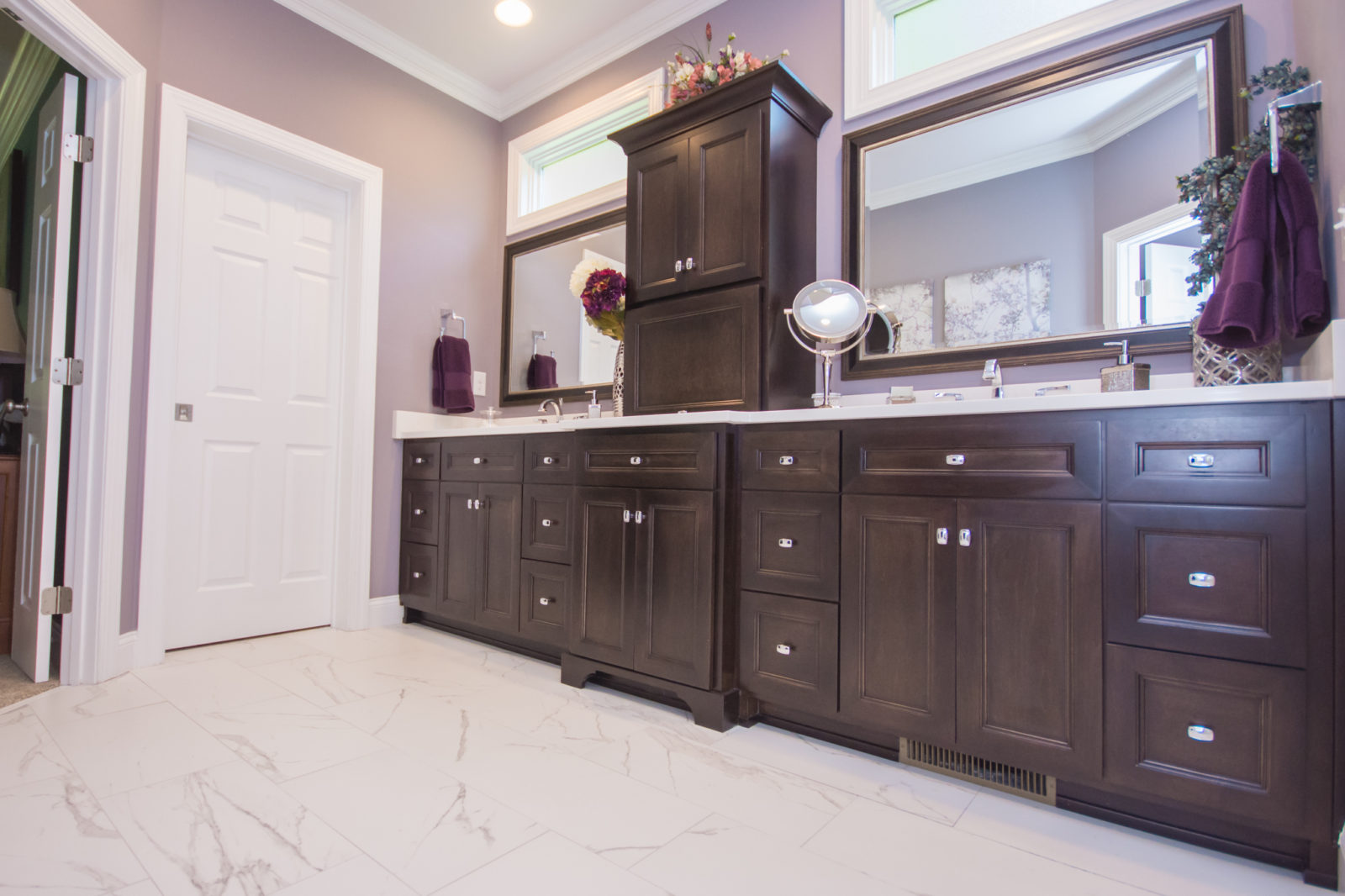 Waxhaw, NC home, bathroom with wooden cabinets
