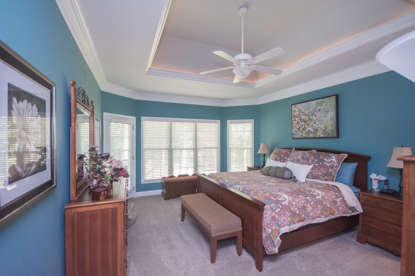 Waxhaw, NC home, master bedroom, cool blue tone