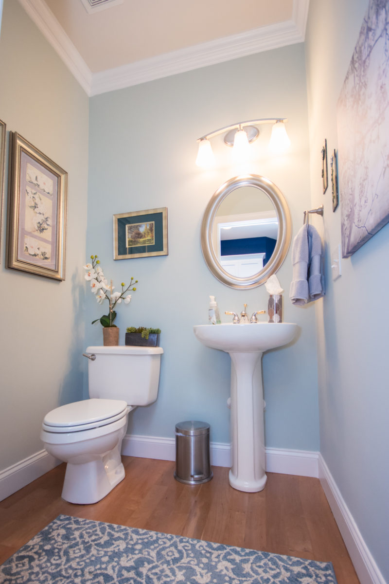 Waxhaw, NC home, light blue tone bathroom