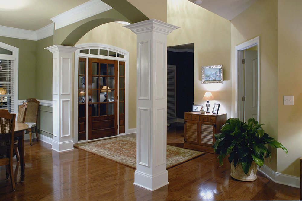 Mint Hill, NC home, foyer with white columns
