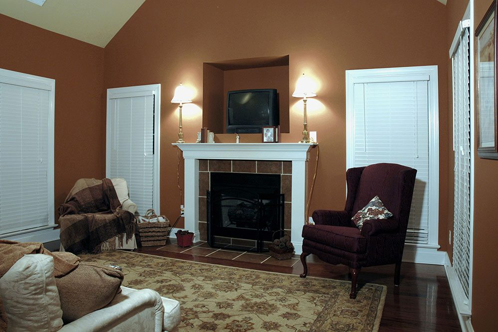 Mint Hill, NC home, living room with fire place
