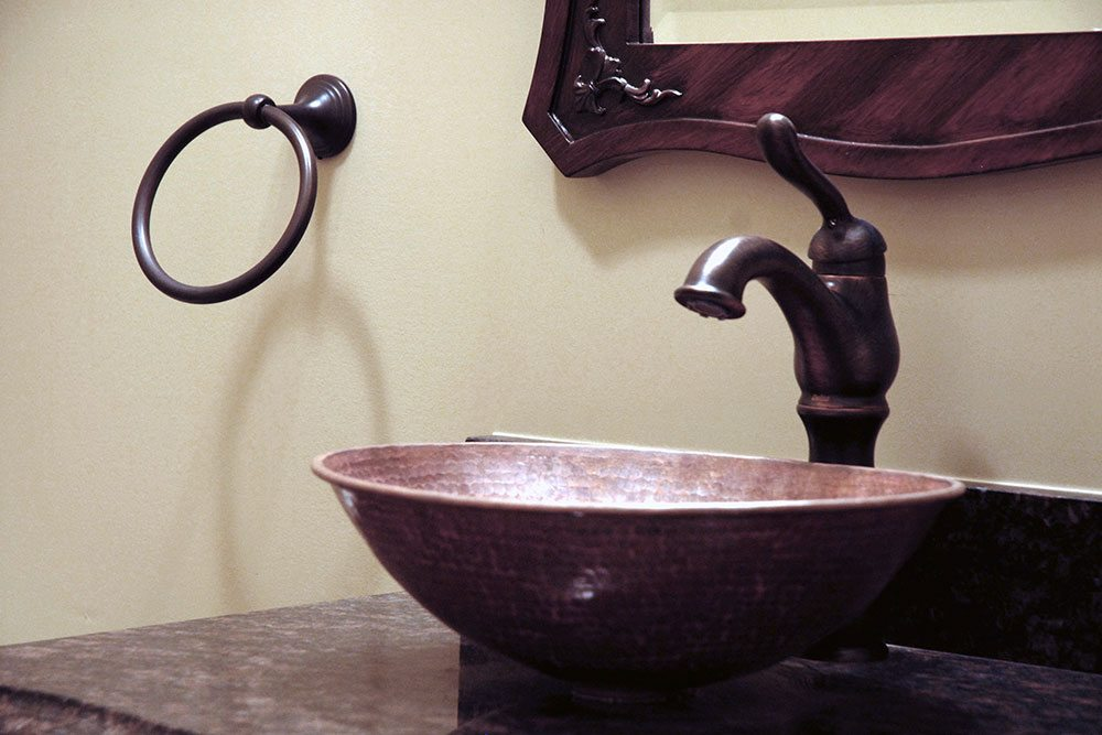 Midland, NC home, brown vessel sink