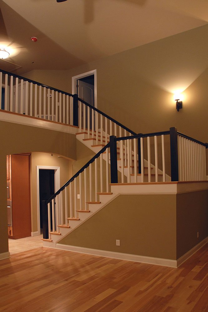 Midland, NC home, staircase with black railing