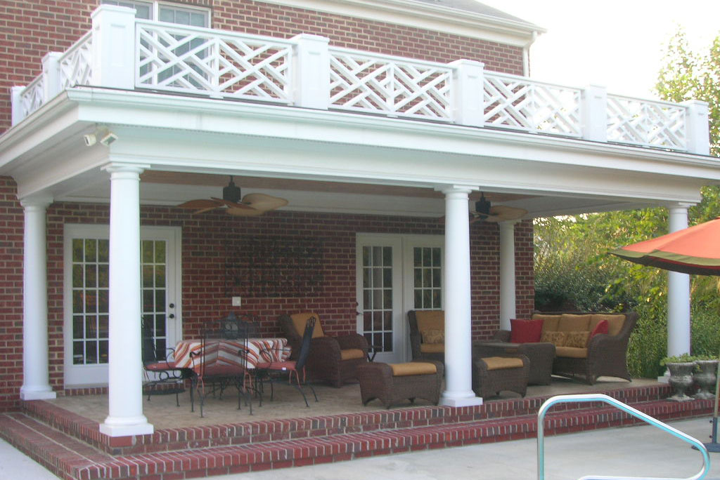 backyard with white columns, outdoor living