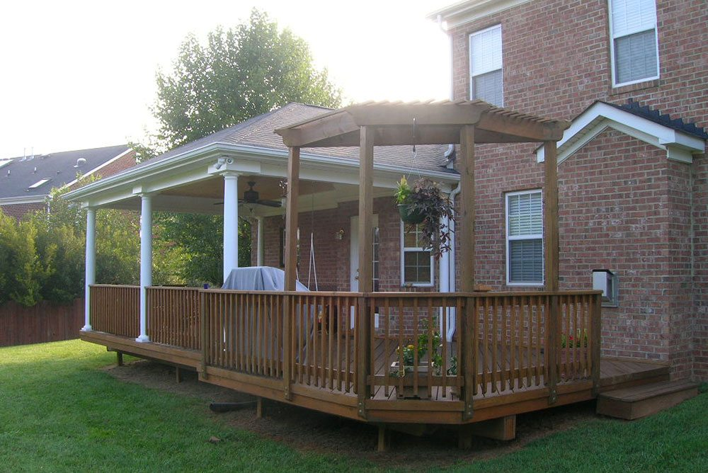 back porch, brick house, outdoor living