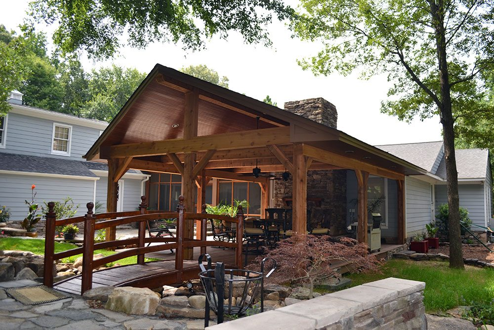 wooden deck with bridge, outdoor living