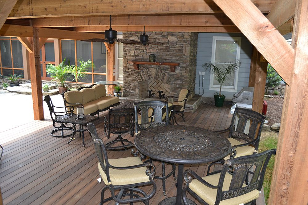 chairs and tables on wooden deck, outdoor living