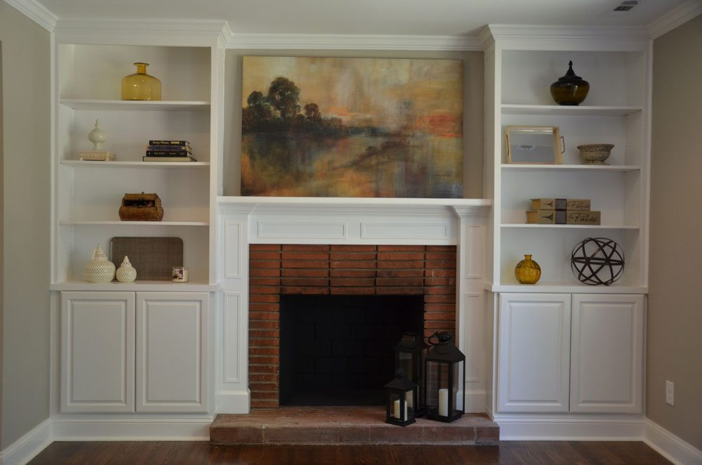 living room remodel with fire place