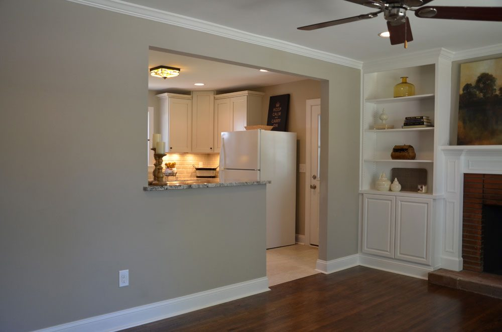 distant view of kitchen remodel entrance