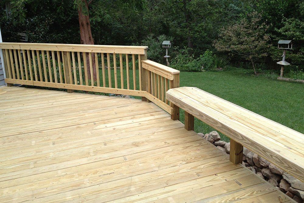 plain wooden porch