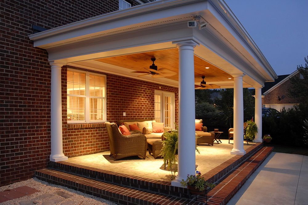 porch with multiple white columns, outdoor living