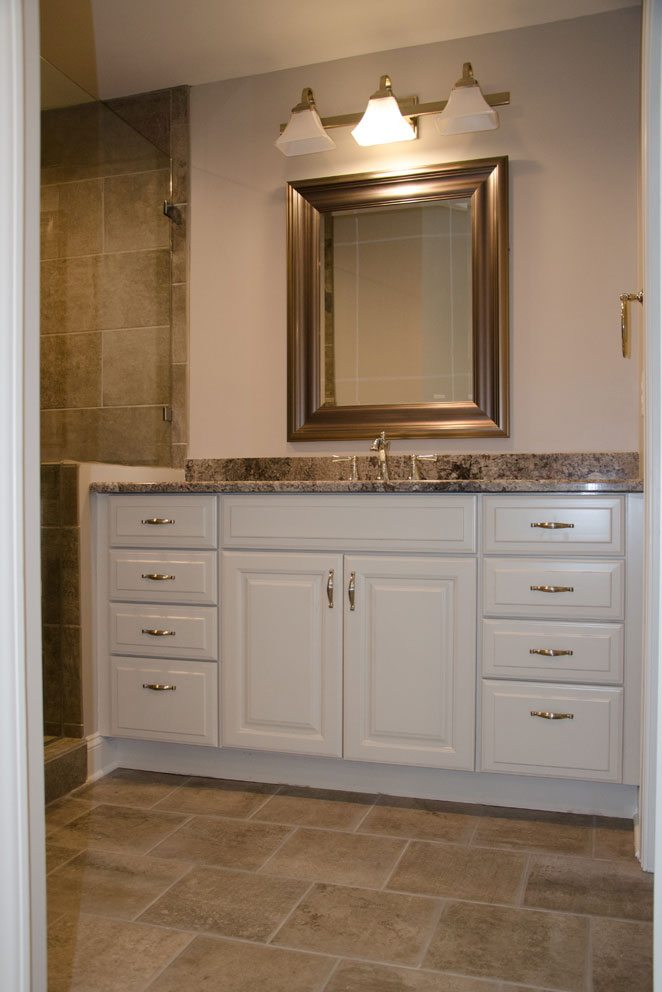 Truscott home, white bathroom cabinets
