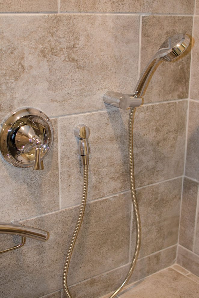 Truscott home, granite shower wall